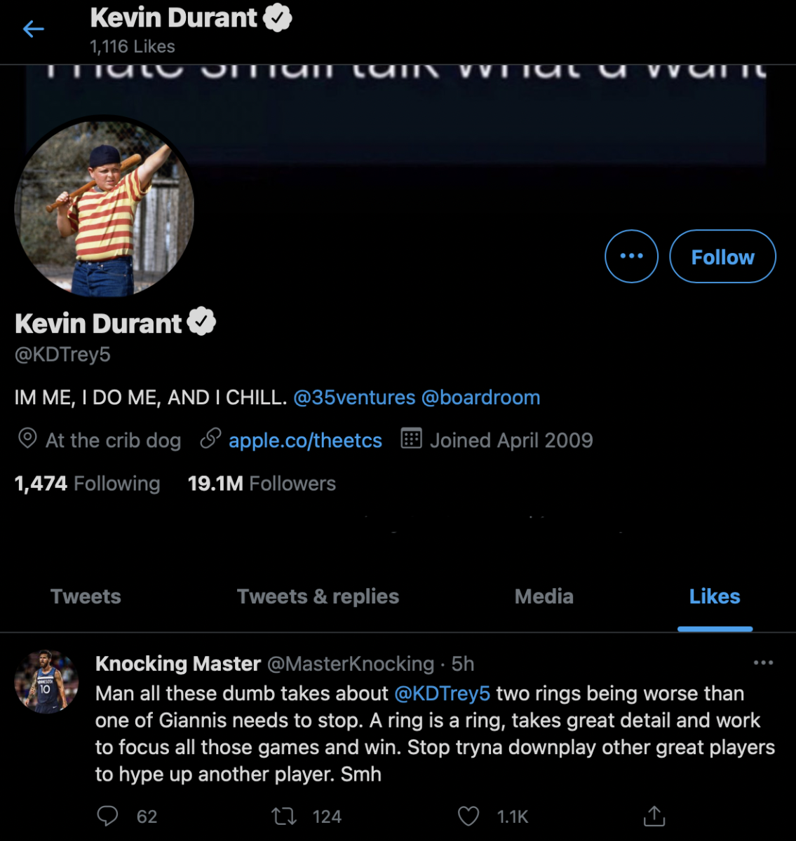 """Kevin Durant Likes Tweet Defending His Championships Rings With The Warriors Against Giannis Antetokounmpo's Ring With The Bucks """"A Ring Is A Ring, Takes Great Detail And Work To Focus All Those Games And Win"""""""