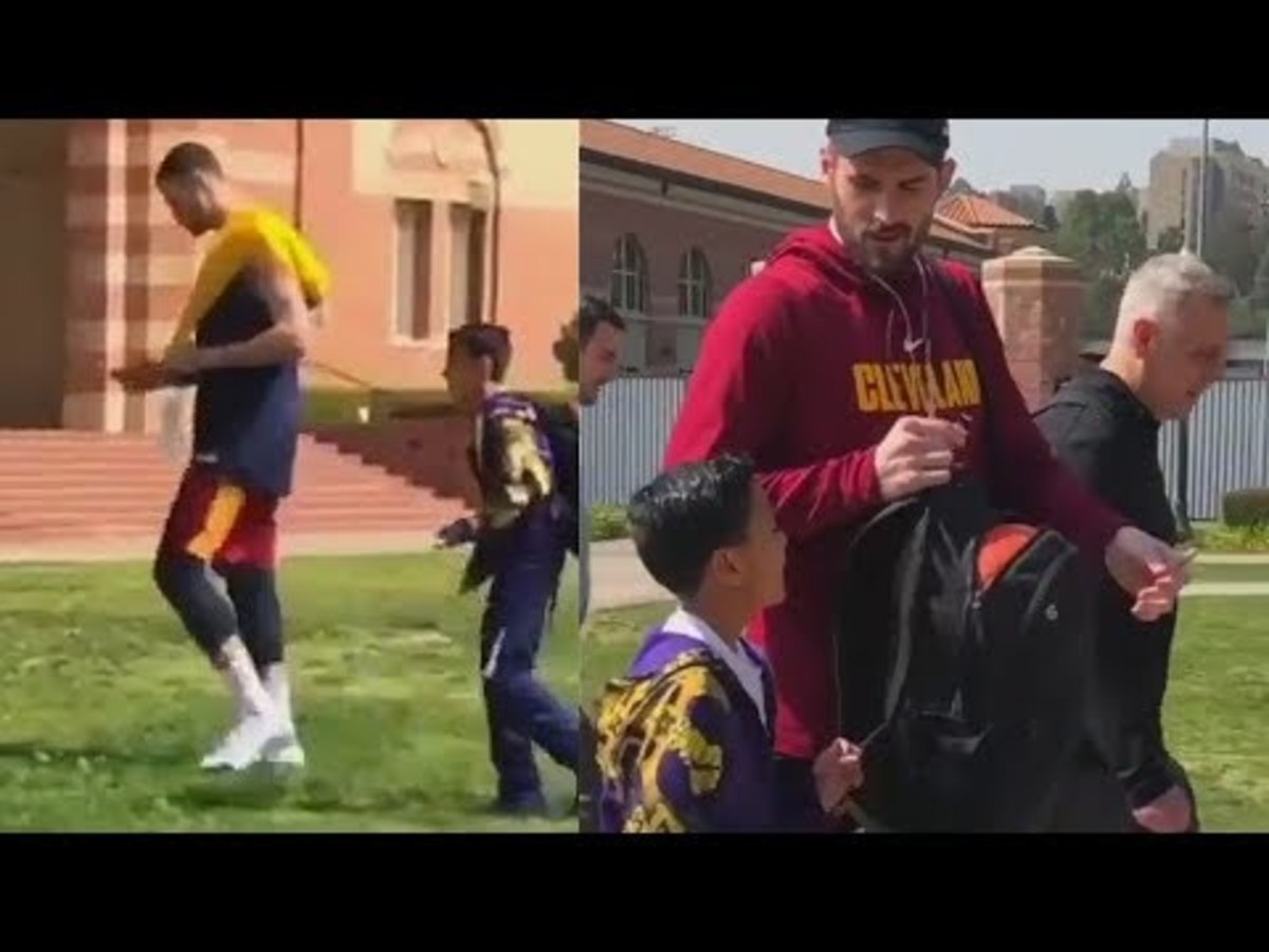 Larry Nance Jr. Completely Ignores Young Cavaliers Fan, Kevin Love Makes Fan's Day With An Autograph