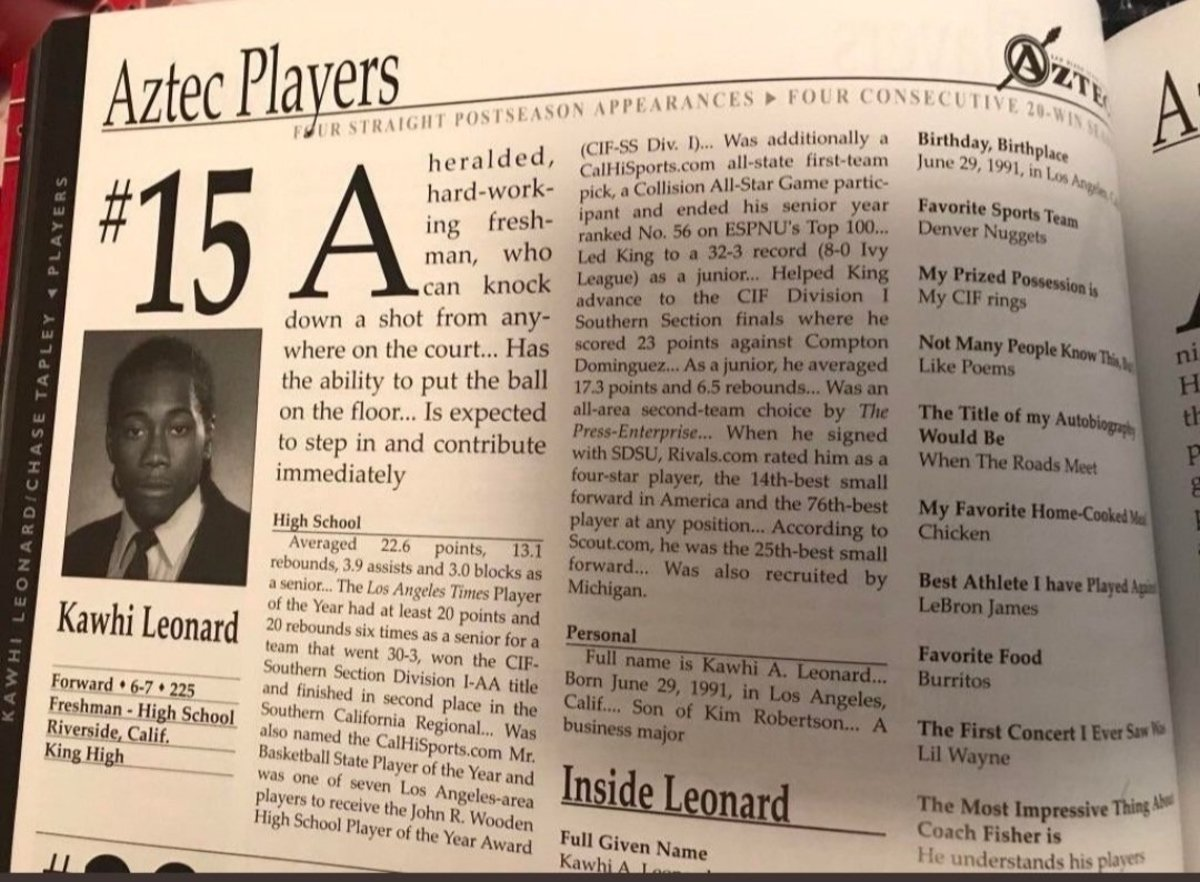 Kawhi Leonard's Yearbook Reveals His Favorite Team Was The Denver Nuggets, And LeBron James Was The Best Athlete He Played Against