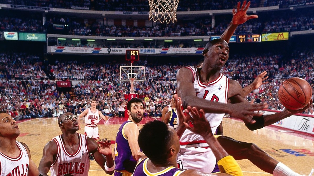 Michael Jordan's Mid Air Adjustments And Hang Time: Poetry In Motion